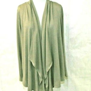 Womens Lightweight Tan Open Front Draped Cardigan